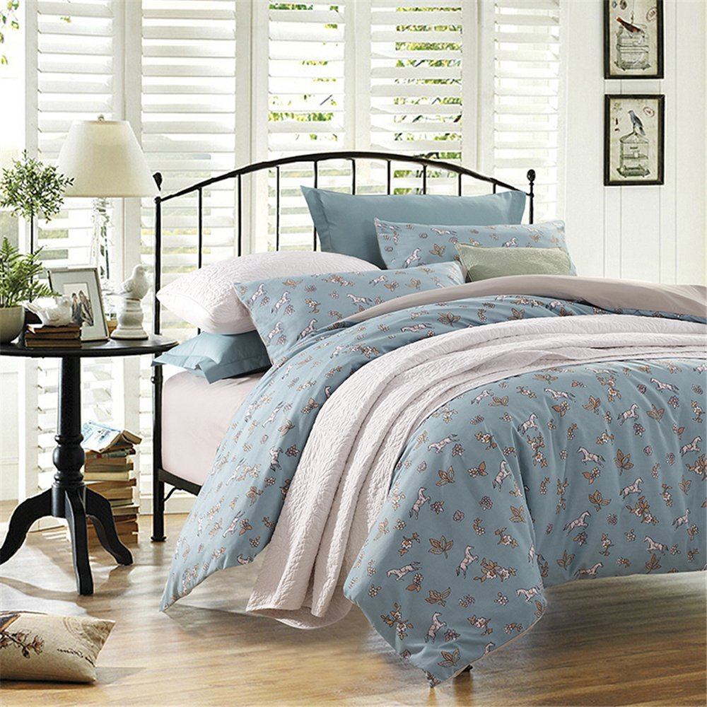 Costbuys  High Quality Flowers Bedding Set Bed Cover Bed Sheet Fitted Sheet Duvet Cover Horses Bed Linen Twin Full Queen King Si