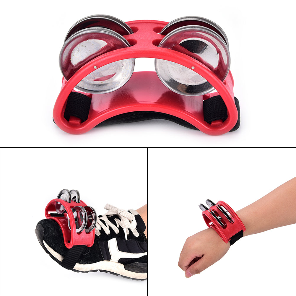 Costbuys  High Quality Foot Tambourine 1pcs Metal Jingle Bell Percussion Musical Instrument - Red
