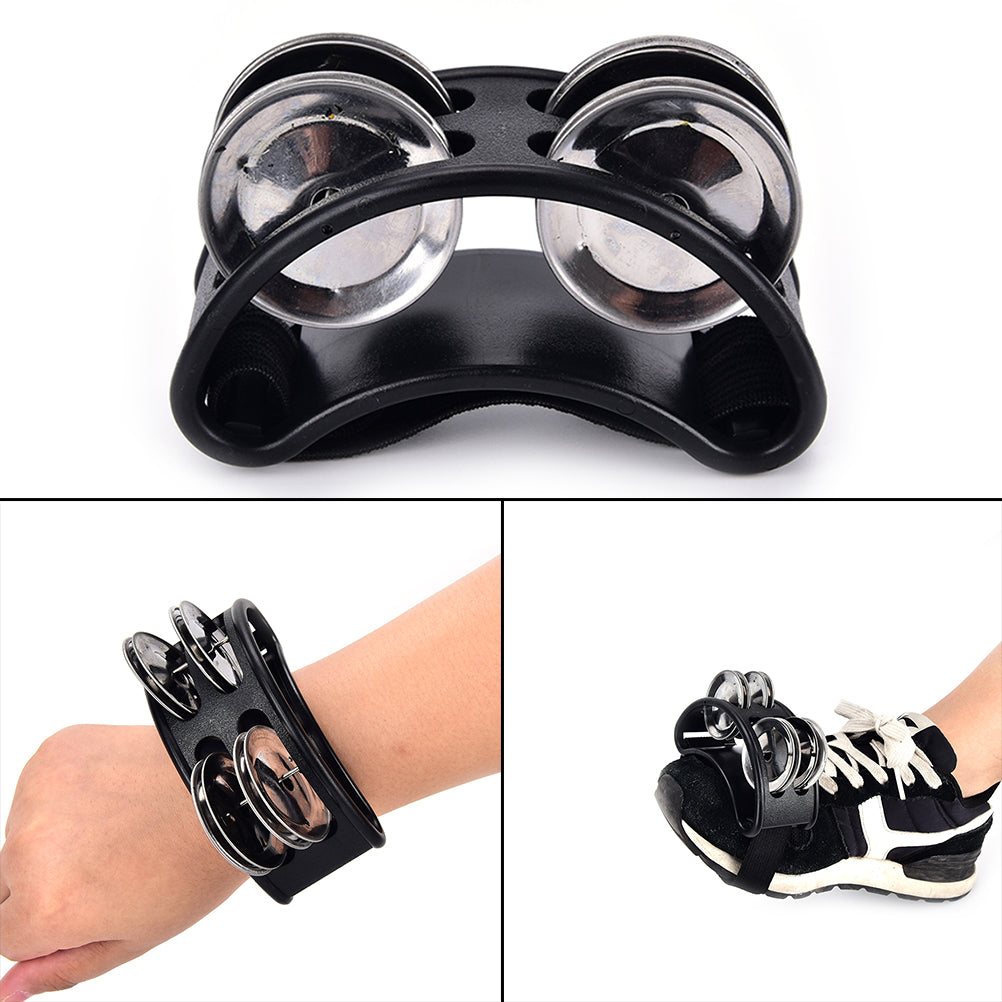 Costbuys  High Quality Foot Tambourine 1pcs Metal Jingle Bell Percussion Musical Instrument - Black