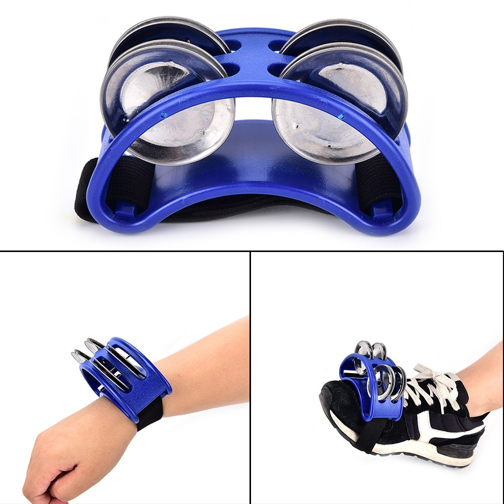Costbuys  High Quality Foot Tambourine 1pcs Metal Jingle Bell Percussion Musical Instrument - Blue