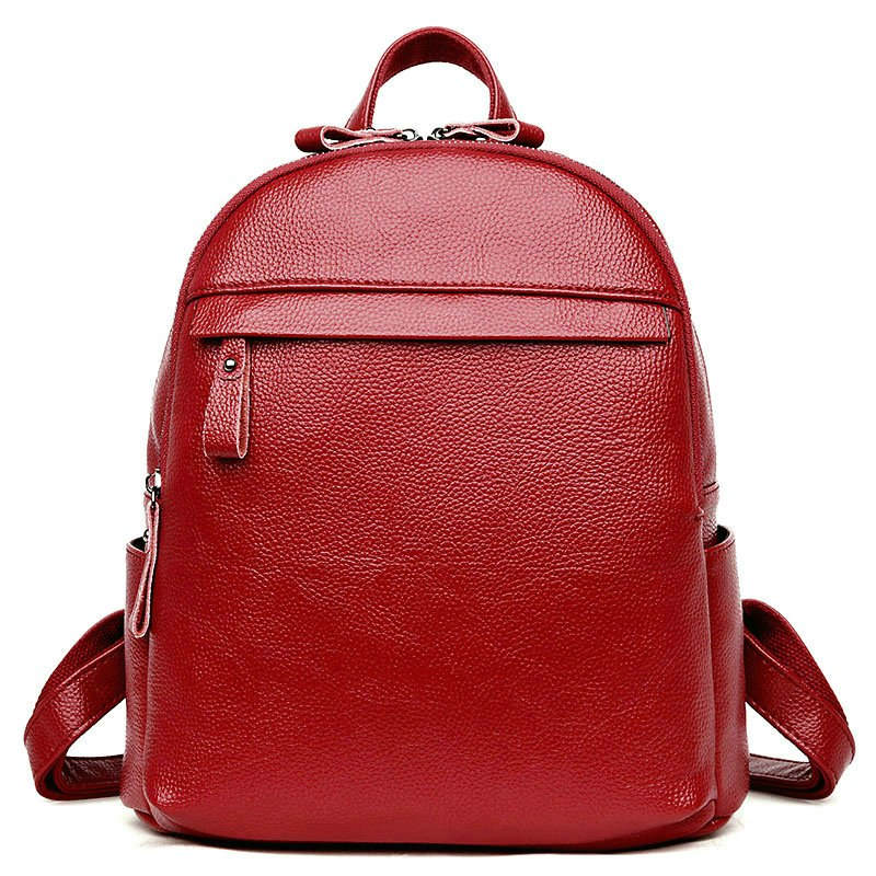 Costbuys  High Quality Genuine Leather Women Backpack Preppy Style School Backpack Women Travel Bag - Wine