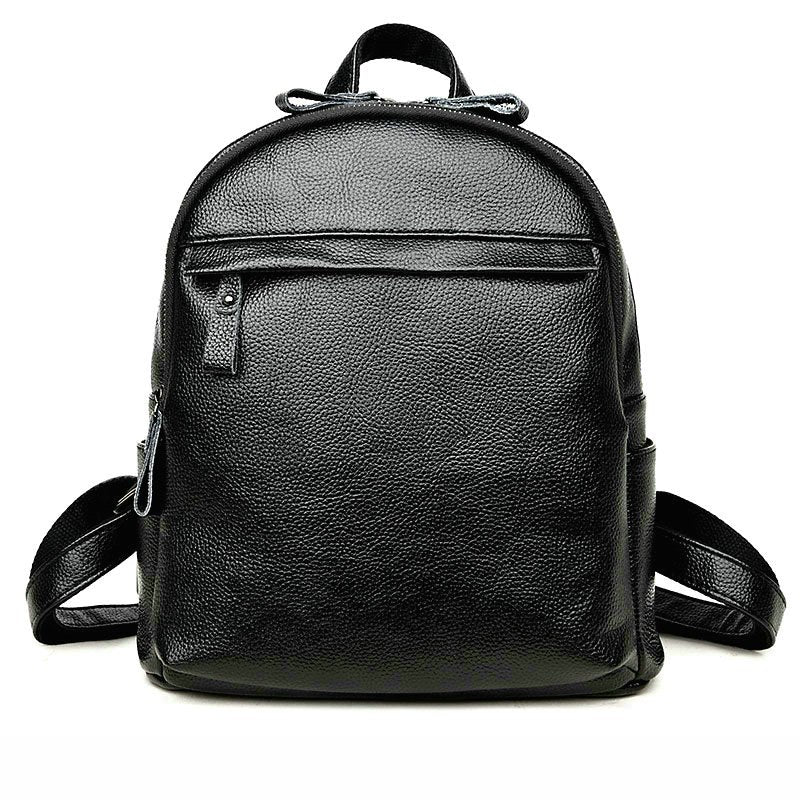 Costbuys  High Quality Genuine Leather Women Backpack Preppy Style School Backpack Women Travel Bag - Black