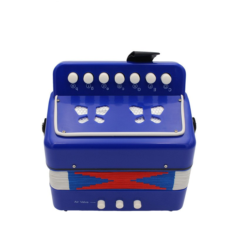 Costbuys  High Quality Kids Children 7 Key 2 Bass Accordion 10 Color Educational Musical Instrument Rhythm Band Toy - Blue