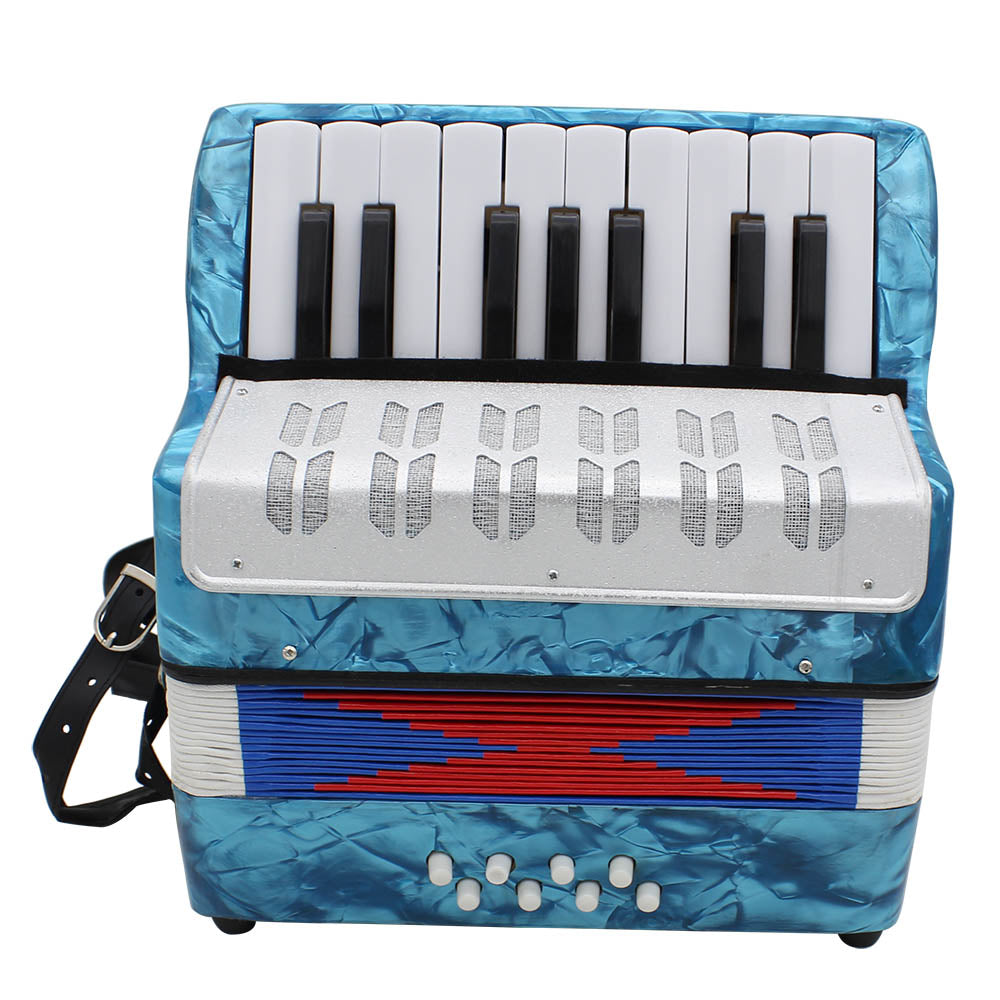 Costbuys  High Quality Mini 17-Key Accordion Durable 8 Bass Accordion Educational Musical Instrument Toy for Amateur Beginner Be