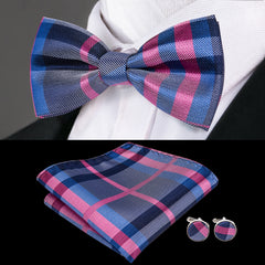 High Quality Silk Bowties for Men Blue Plaid Men's Wedding Bowtie Handkerchief Cufflinks Set Male Bowties for Man
