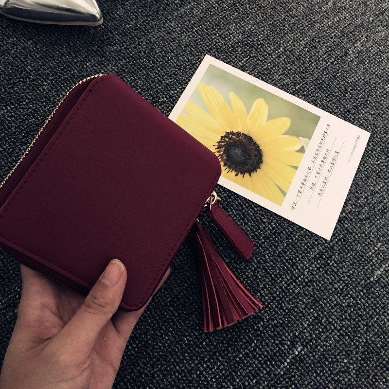 Costbuys  High Quality Square Women Card Coin Purses Holders Wallet Female Leather Tassel Pendant Money Wallets Wine Red Clutch