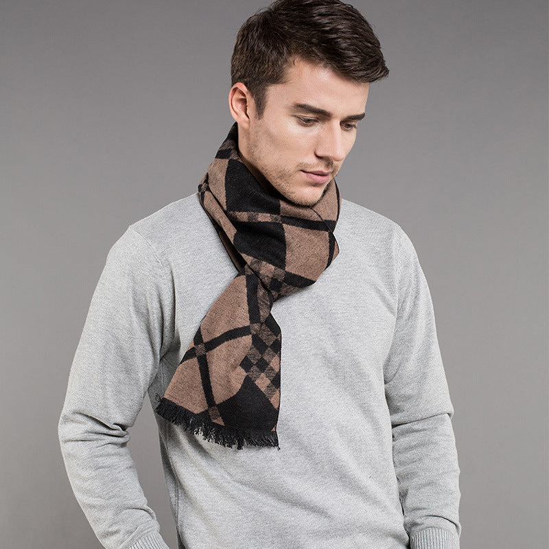 High Quality Wool Cashmere Scarf For Men Viscose Scarf Striped Print Warm Winter Shawl Echarpe homme Men Scarf