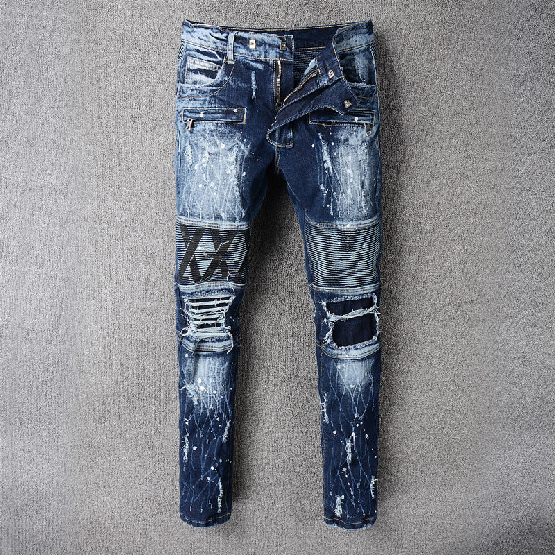 Costbuys  High Street Fashion Classical Men Jeans Motorcycle Pants Blue Color Destroyed Biker Jeans Homme Ripped Jeans Men - Blu