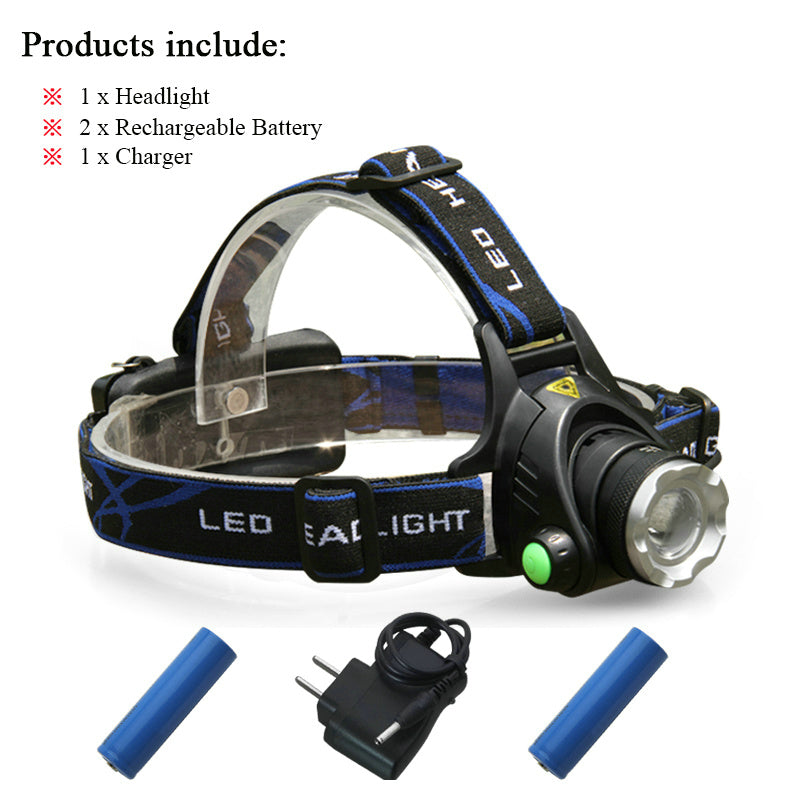 Costbuys  High power LED torch headlight cree t6 xml l2 zoomable head lamp 18650 rechargeable battery LED flashlight head night