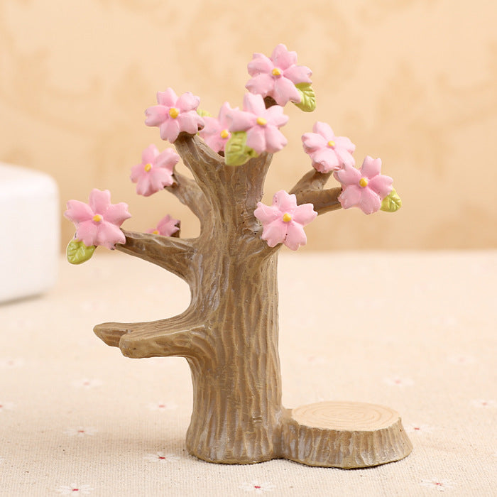 Costbuys  Home Decor Resin Craft Pink Cherry Tree Ornament Figurine Home Decoration Artificial Plant Shooting Props Living Room