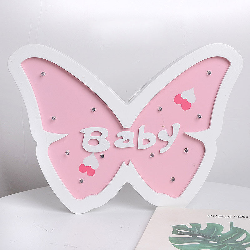 Costbuys  Home Decor Wood White Butterfly Figurines Ins Style Wooden LED Night Light Children Home Office Desktop Decoration Fla