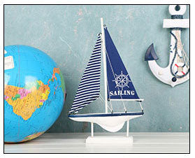 Costbuys  Home Decor Wood White Sailboat Figurines Mediterrean Style Wooden Stripe Ship Home Office Desktop Miniature Marine Sai