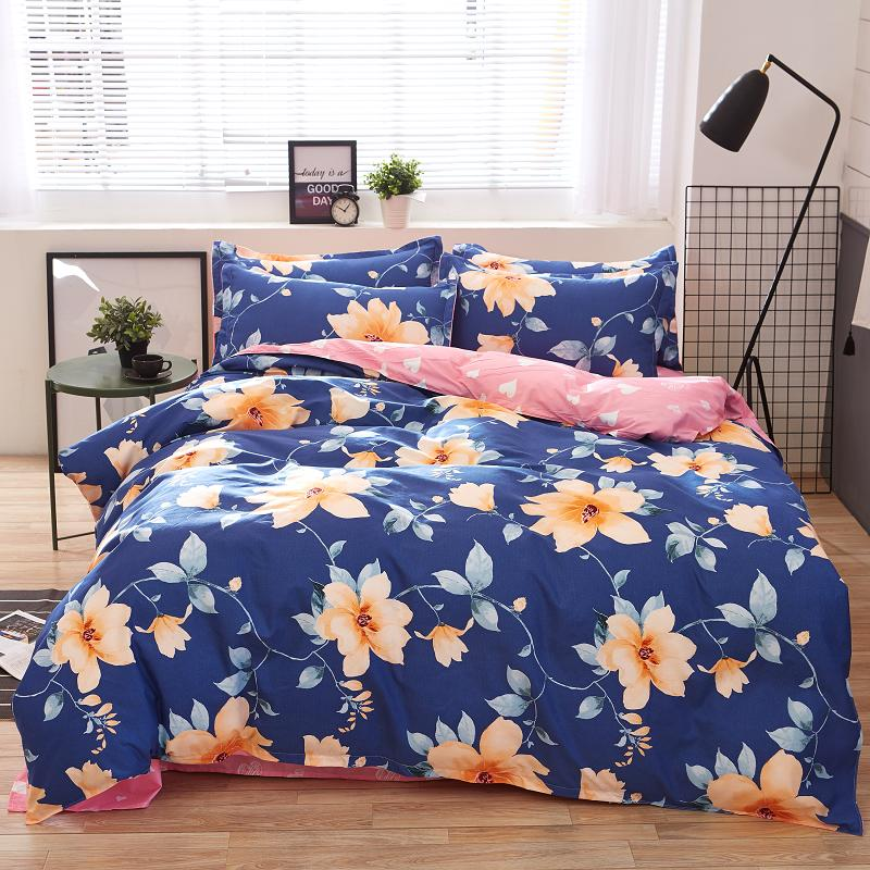 Home Textile bedding set king bed green leaf bed cover set Pastoral style bed sheet+duvet cover+pillowcase bed cover linen heart