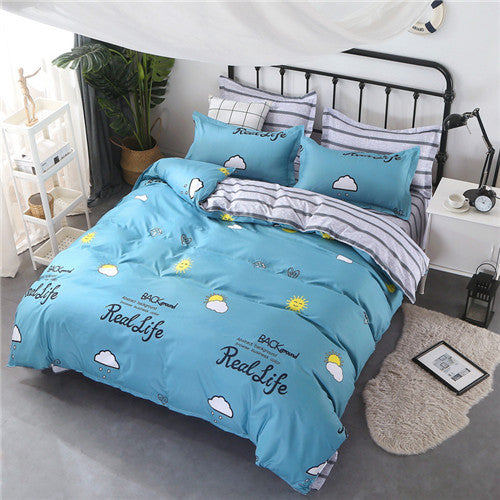 Costbuys  Home textile love heart printed bedding set king queen full twin duvet cover bed sheet bed linen stripe modern bedding