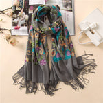 Women scarf Embroidery thick warm winter scarves lady big size pashmina cashmere scarf shawl and wraps