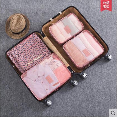 Costbuys  !Nylon Packing Cube Travel Bag men women luggage 6 Pieces Set Large Capacity Bags Unisex Clothing bags - Pink Leopard