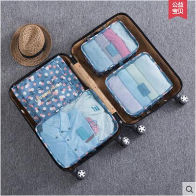 Costbuys  !Nylon Packing Cube Travel Bag men women luggage 6 Pieces Set Large Capacity Bags Unisex Clothing bags - Blue Flower