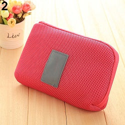 Costbuys  Hot!  Portable Shockproof Nylon Gadget Devices USB Cable Organizer Case Storage Bag - Rose