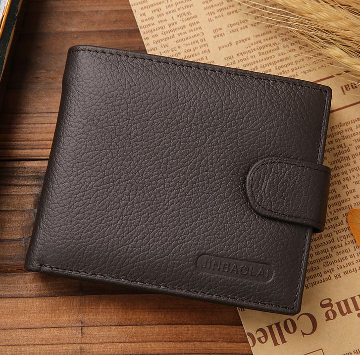 Costbuys  Fashion Men Wallets Quality Genuine Leather Coin Pocket Wallet Black Brown Credit Card Holder Purse - Brown