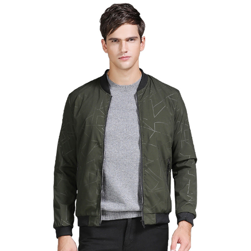 Fashion Spring Autumn Jacket Men Solid Slim Bomber Jackets Stand Collar Man Army Green Man's Coat Casual Male Outwear