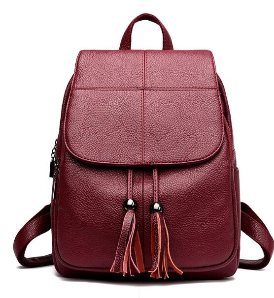 Costbuys  Hot Sale Genuine Leather Backpack Women Fashion Travel Backpacks School Bag New Preppy Style Women Bags - Red / 12 inc