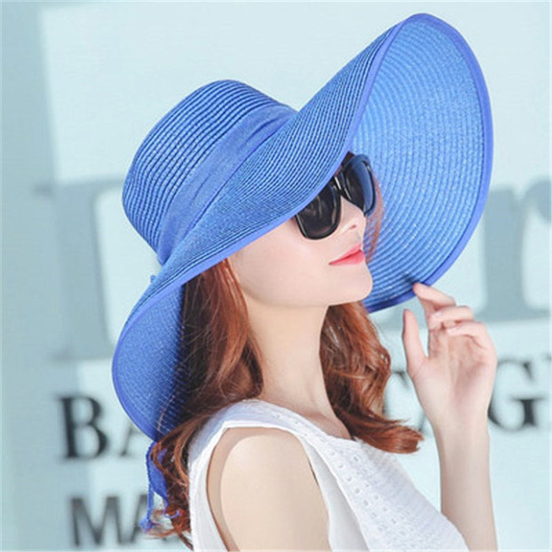 Summer Sun Hats For Women Large Brim With Ribbons Bow Beach Hat Cap La –  Costbuys f4b2716a309