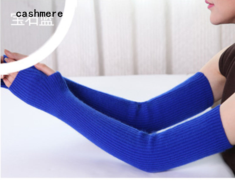 Costbuys  Women's Mink cashmere knitted female gloves 40cm 50cm 60 cm long arm Mittens - jewelry blue / 40cm