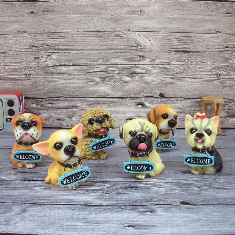Costbuys  Hot Sales! Home Decoration Resin Crafts Welcome Dogs Figurines Craft Ornaments Lovely Dogs - Multi-Colored