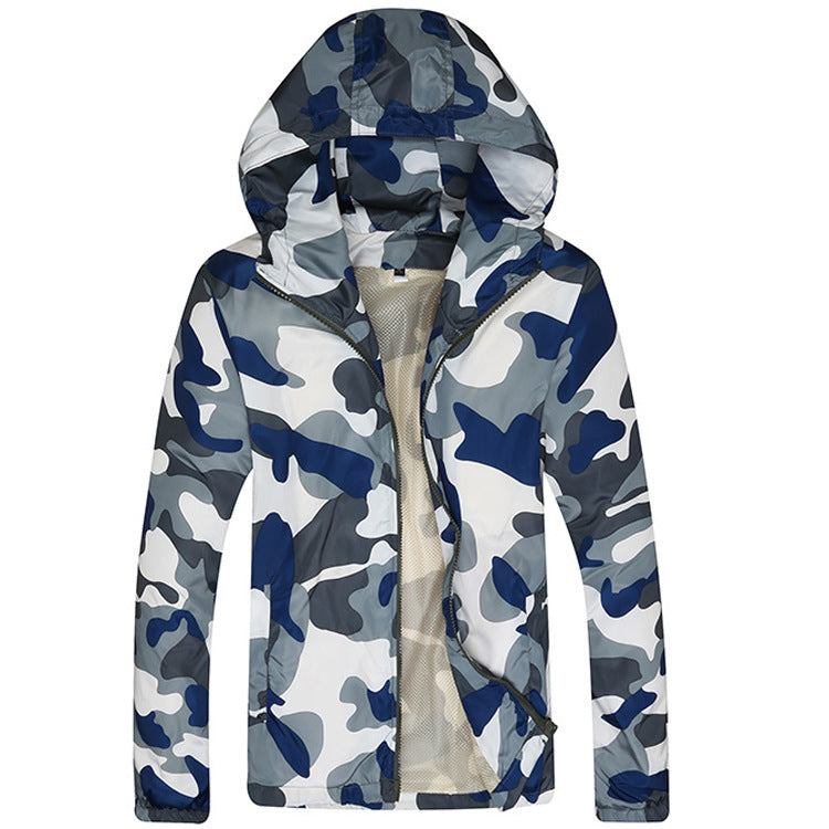 Men Fashion Camouflage Jacket Spring Summer Autumn Tide Male Hooded Thin Sunscreen Coat