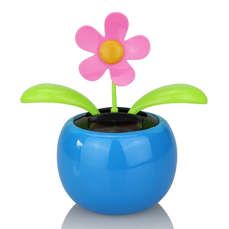 Costbuys  Moving Dancing Solar Power Apple Flower Flowerpot Swing Solar Car Toy Gift Home Decorating Plants - White