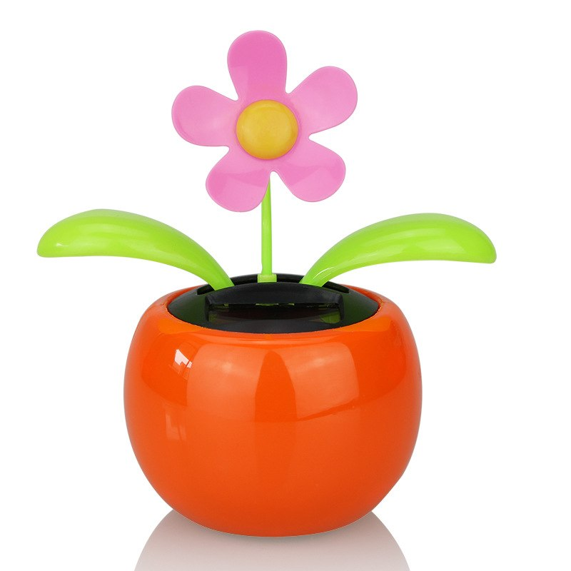 Costbuys  Moving Dancing Solar Power Apple Flower Flowerpot Swing Solar Car Toy Gift Home Decorating Plants - Gray