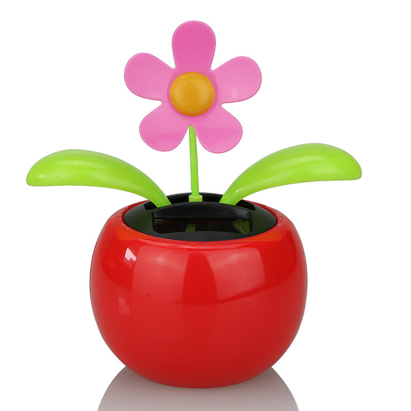 Costbuys  Moving Dancing Solar Power Apple Flower Flowerpot Swing Solar Car Toy Gift Home Decorating Plants - Green