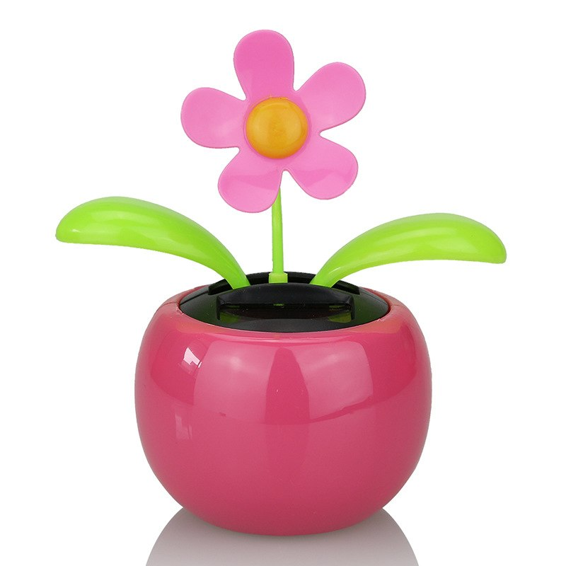 Costbuys  Moving Dancing Solar Power Apple Flower Flowerpot Swing Solar Car Toy Gift Home Decorating Plants - Red