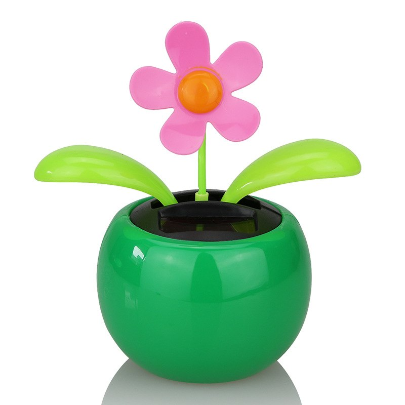 Costbuys  Moving Dancing Solar Power Apple Flower Flowerpot Swing Solar Car Toy Gift Home Decorating Plants - Black