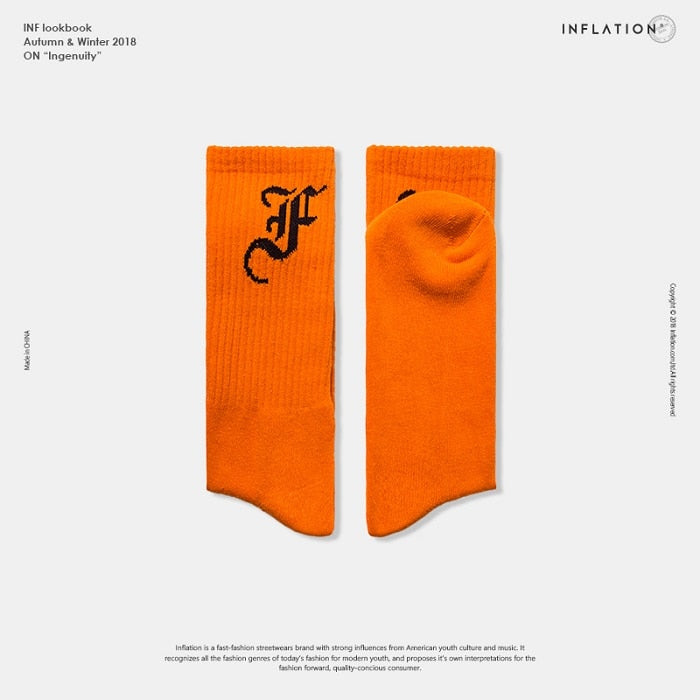 Costbuys  Men socks letter printed socks hip hop street wear - 931orange / one size