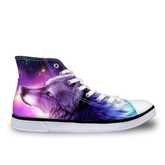 Women Casual Flats Shoes Cool Animal Purple Wolf Print Woman's High-top Vulcanize Canvas Shoes Sneakers