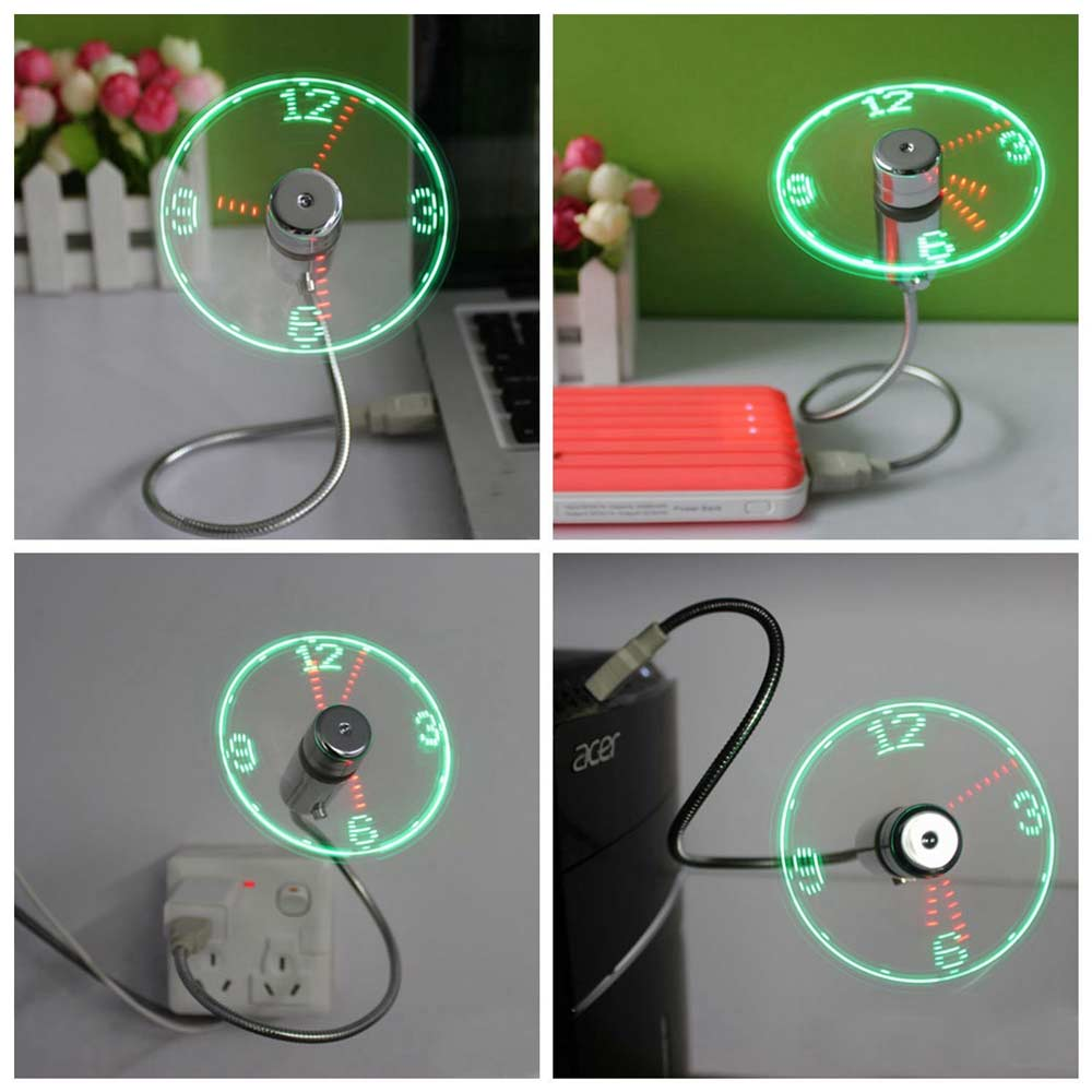 Costbuys  mini usb fan LED Clock Cool Colorful or Temperature Display Fan Adjustable USB Gadget for PC power bank LED USB Fan -
