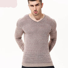 2017 Autumn Sweater Men Solid Slim Pullover Thin Base Layer Knitted Sweater V-Neck Winter Knitwear Brand Clothing