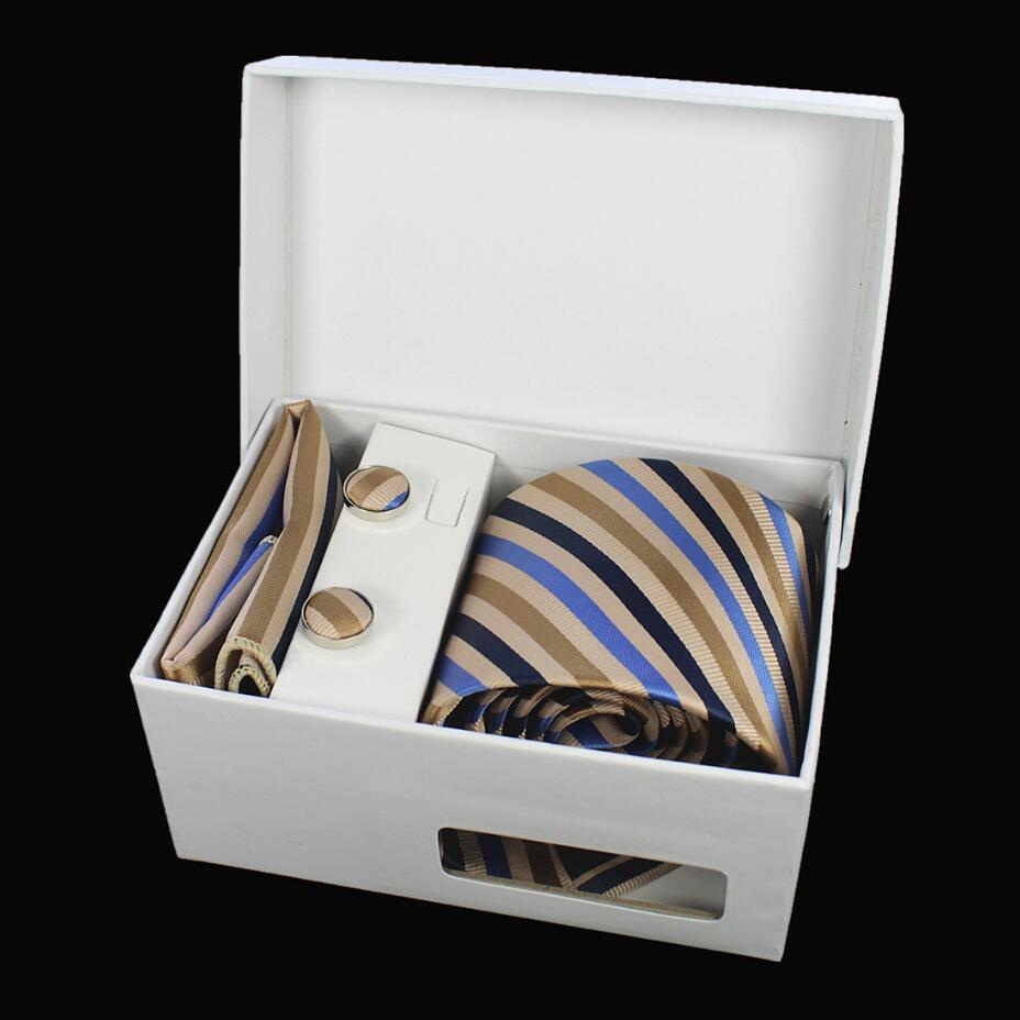 Costbuys  Tie Set Hanky Cufflinks With Gift Box Jacquard Woven Silk Plaid Neckties Set For Men Wedding Party Lots of accessories