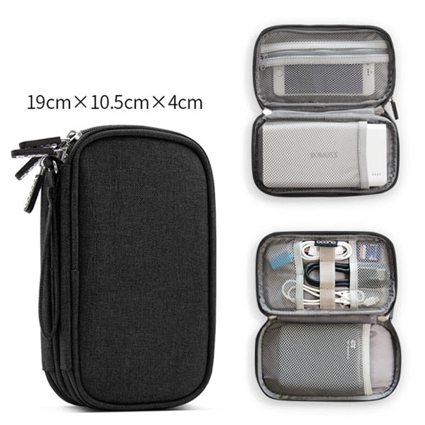 Costbuys  Oxford Cloth Power Bank Pouch Electronics Accessories USB Cable Earphones Storage Bag Travel Digital Gadget SD Organiz