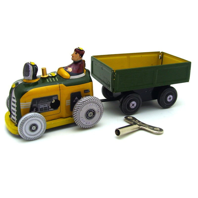 Costbuys  Classic Vintage Clockwork Tractor Nostalgic Wind Up Children Kids Tin Toys With Key Fun Toys Gift For Children