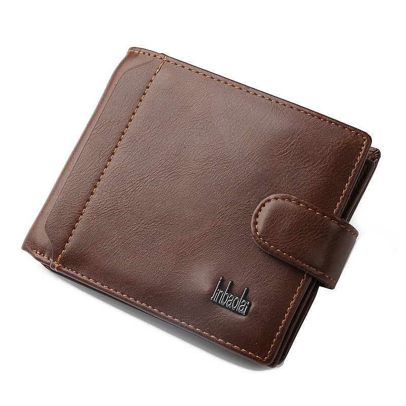 Costbuys  Designer High Quality Split Leather Man Short Wallet Clutch Bag With Coin Pocket Luxury Bifold Purse for Men - coffee