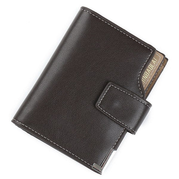 Costbuys  Men Short wallet high quality Multifunction fashion purse with card holder 3 Fold Buckle male coin bag D3161-1 - Coffe