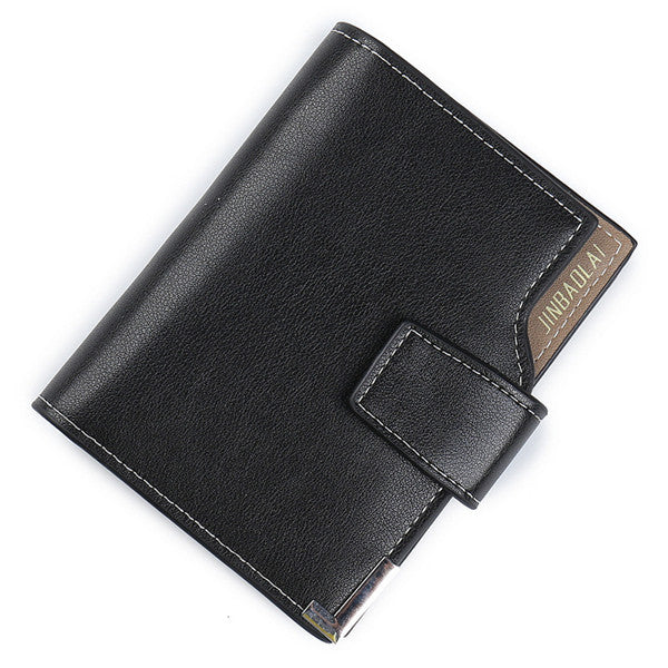 Costbuys  Men Short wallet high quality Multifunction fashion purse with card holder 3 Fold Buckle male coin bag D3161-1 - Black
