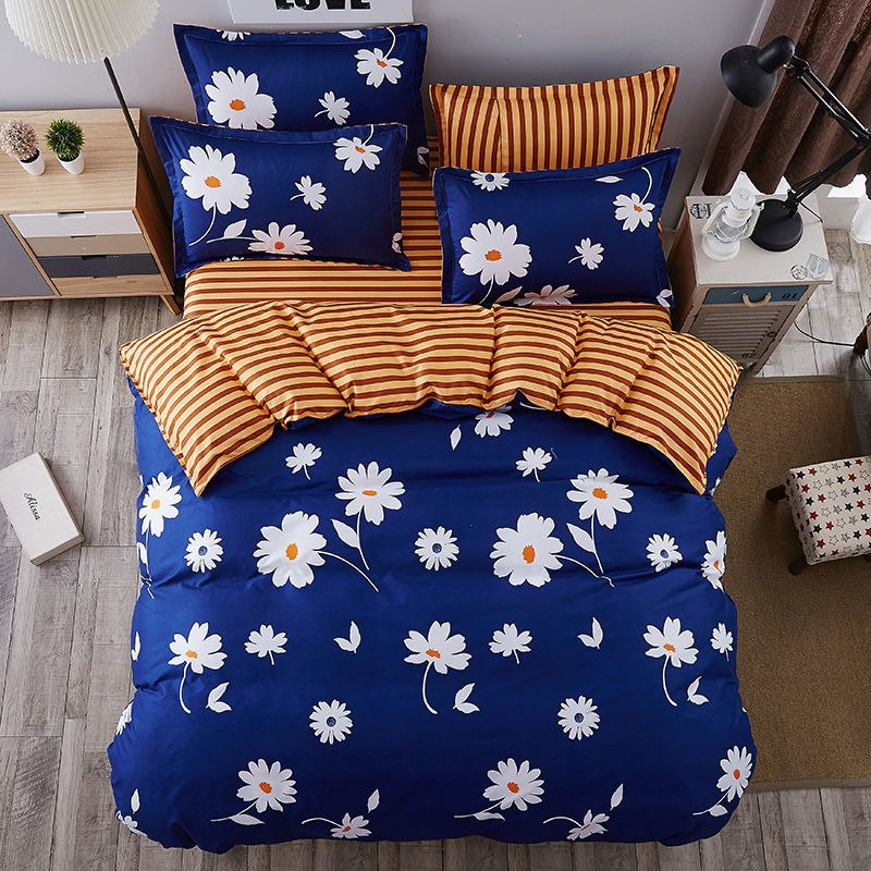 Home Bedding Sets White Star Clouds Plaid Twin/full/queen/kingsize Duvet Cover Sheet Pillowcase Bed Linen Bedclothe