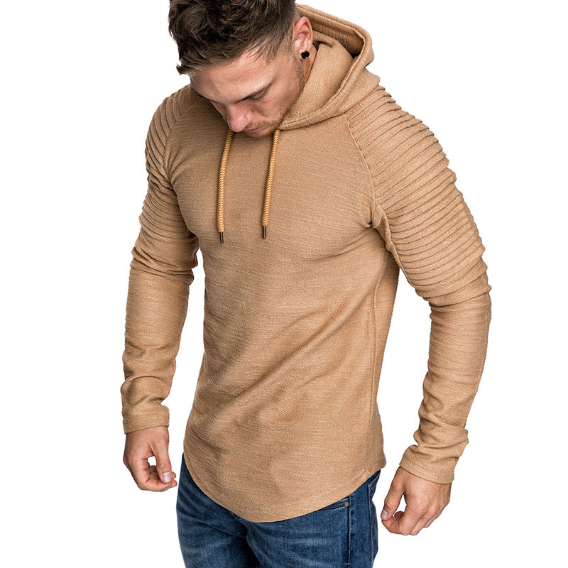 Costbuys  Men Hoodies Sweatshirts Casual Hip Hop Street wear Hoodie Long Sleeve Solid Pullover Sweatshirts Hooded Slim Fit - Kha