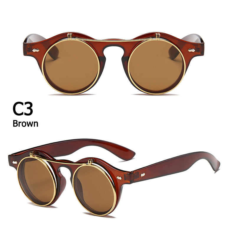 Costbuys  JackJad 2018 Fashion Vintage Round SteamPunk Flip Up Sunglasses Classic Double Layer Clamshell Design Sun Glasses Ocul