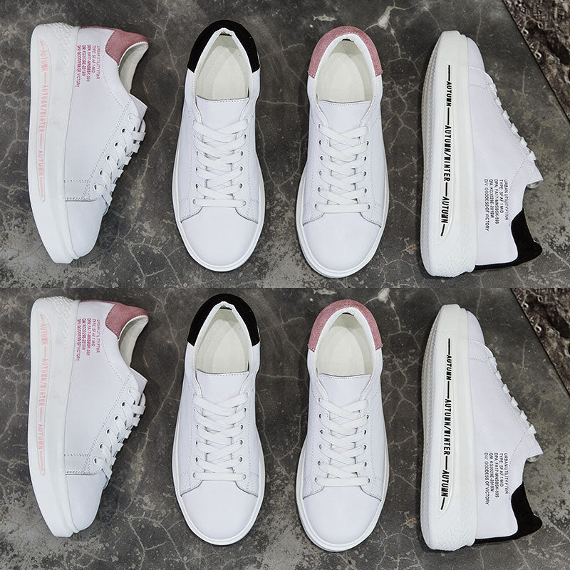 Costbuys  Autumn Fashion Quality Real Leather Lady Casual White Shoe Women Sneaker Leisure Heighten Platform Shoe Cross-tied - P
