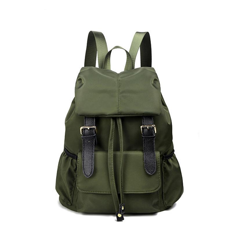 Costbuys  High Quality Backpack Female Solid Women's Backpacks Belt Large Nylon Black/Green Waterproof Backpack Women Bag Mochil