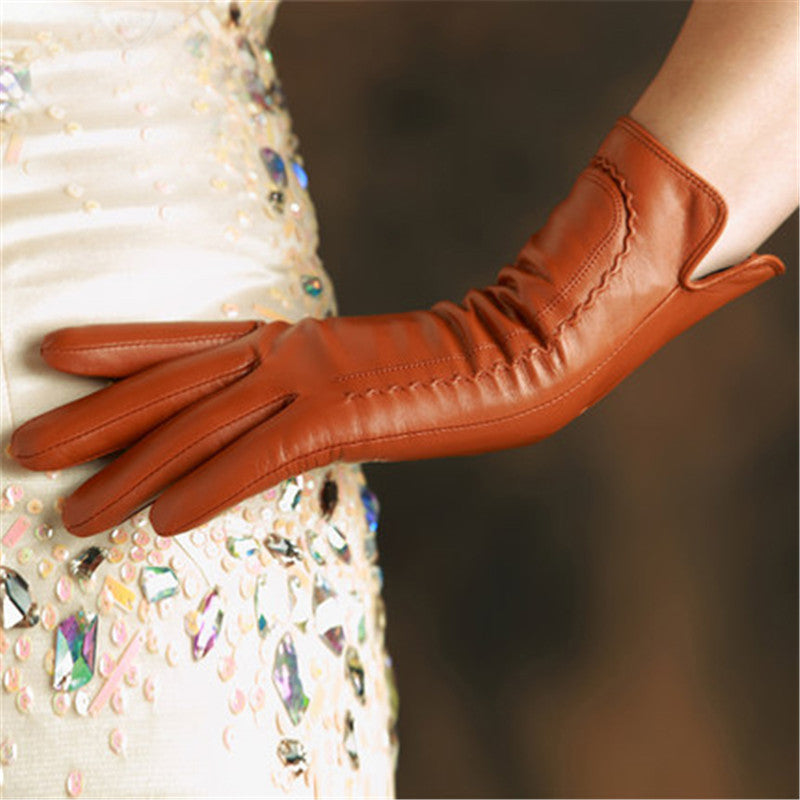 Costbuys  Genuine Leather Women Gloves High Quality Goatskin Gloves 30cm Long Elegant Lady Sheepskin Glove - leather gloves / S
